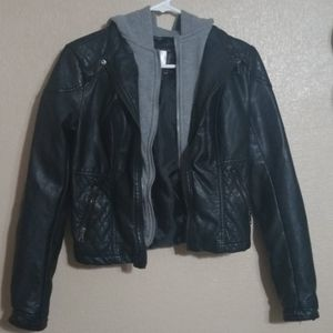 Faux leather jacket, crop with hood